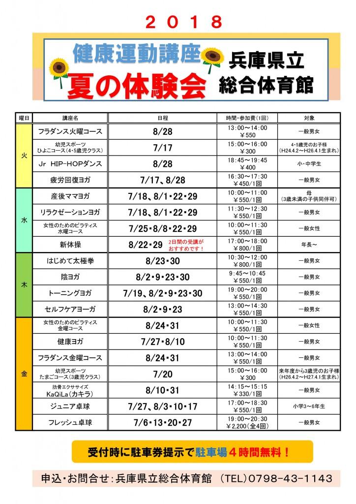 夏の体験会2018表